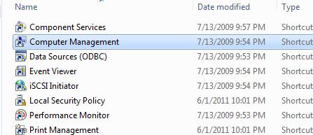 image of computer management control panel item