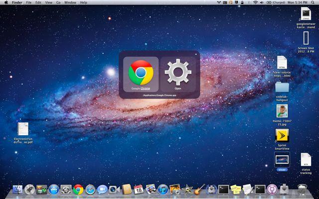 A screenshot of QuickSilver running