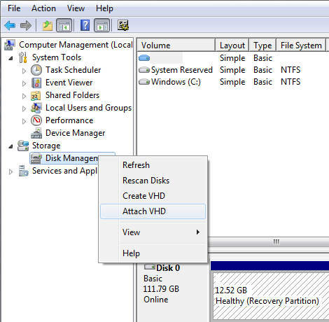 image showing the attach VHD dialog