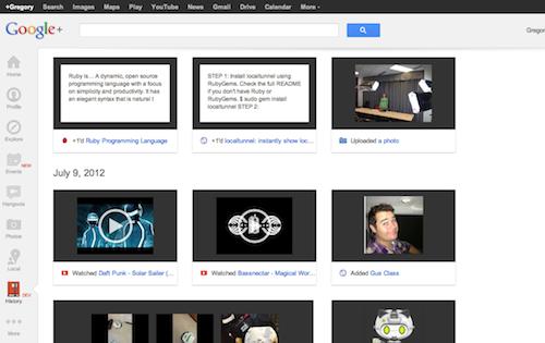 Example of Google+ History UI